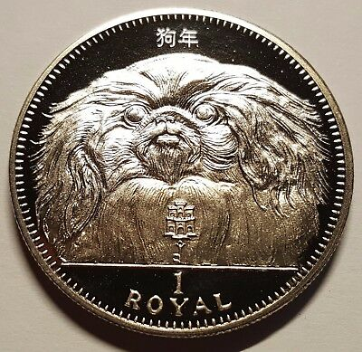 1994 Gibraltar PROOF 1 Royal Pekingese Dog Crown