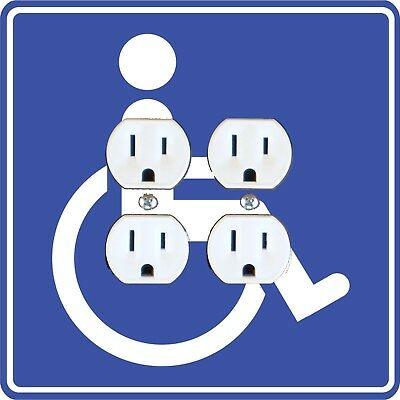 Disability Sign Double Duplex Outlet Plate Cover