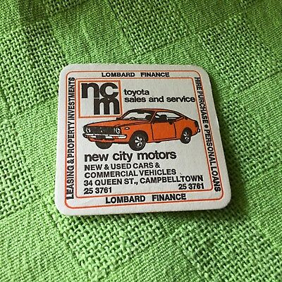 """Collectable drink coaster-""""NEW CITY MOTORS CAMPBELLTOWN """" Perfect Condition"""