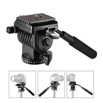 Professional Fluid Tripod Head w/ Handle Quick Release Plate for DSLR Camera
