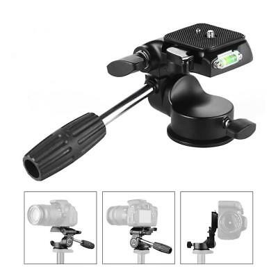 Professional 3-way Tripod Head w/ Handle Quick Release Plate for DSLR Camera