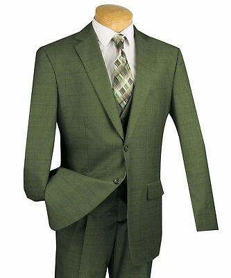 Vinci Men's Olive Green Glen Plaid 3pc Classic-Fit Suit w/ Matching Vest NEW