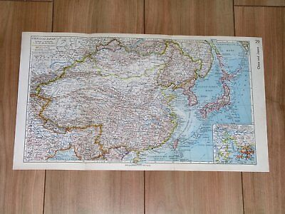1936 Original Vintage Map Of China Japan Korea Manchukuo / Hong Kong Inset Map