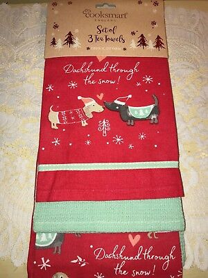 Set of 3 HOLIDAY DACHSHUND THROUGH the SNOW Dogs Kitchen Dish Tea Towels NEW!