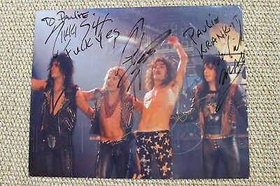 Motley Crue Signed Autographed Photo Nikki Sixx Mick Mars Tommy Lee Vince Neil