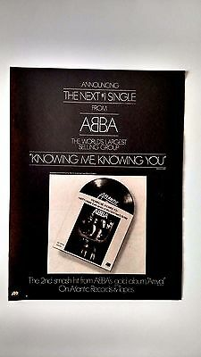 """Abba   """"knowing Me,knowing You""""    (1977)  Rare Original Print Promo Poster Ad"""