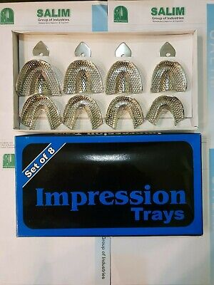 Dental Stainless Steel Impression trays Perforated Set of 8, 30 Set salim-group