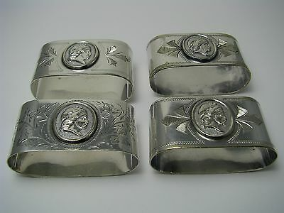 """SET 4 SILVERPLATE SILVER PLATED NAPKIN RINGS NAPKIN HOLDERS """"Medallion"""" ca1860s"""