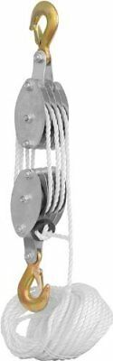 Rope Pulley System Block Tackle Hoist ~ 2 Ton Capacity Wheel Puller Lifter Tools