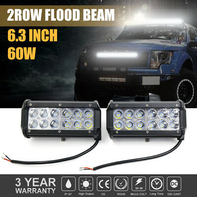 "2x 7"" INCH 60W SPOT LED WORK LIGHT BAR OFFROAD ATV FOG LIGHTS TRUCK 4WD 12V 24V"