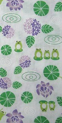 Japanese traditional towel TENUGUI FROG GREEN  GAZE COTTON MADE IN JAPAN
