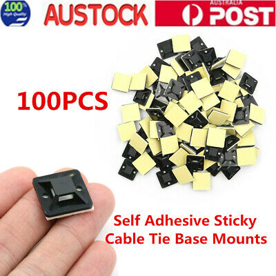 100X Self Adhesive Cable Wire Zip Tie Mounts Mounting Base Clamps Clip Black AU
