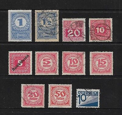 AUSTRIA - 1908-1925 Postage Due stamps, incl Deutschosterreich opt