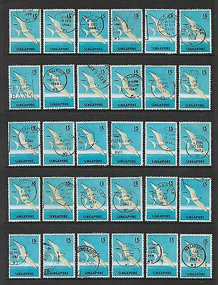 SINGAPORE - 1962-1966 Birds Fish Flowers, 15c Sterna Tern Bird, used