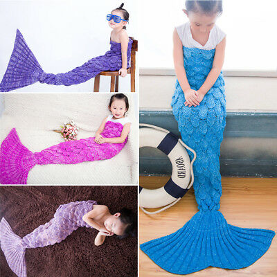 AU Scaled Mermaid Tail Blanket Crochet Knitting Colour Mixed Super Soft for Kids