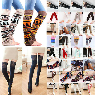 AU Women Leg Warmers Cable Knit Fur Knitted Wool Crochet Socks Stocking Leggings