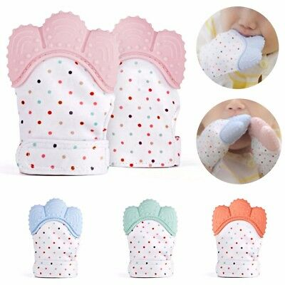1x Silicone Baby Teething Mitten Teething Glove Wrapper Sound Teether Keep Warm
