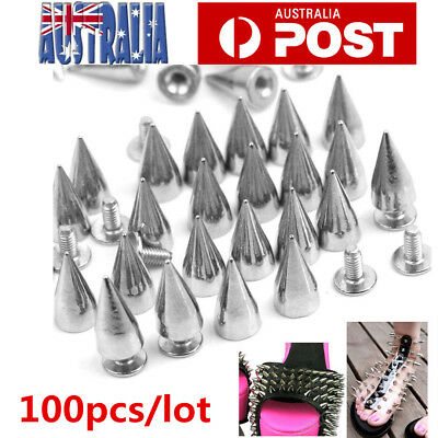 100pc Silver Metal Studs Rivet Bullet Spike Cone Screw Leather Craft DIY 7X9.5mm