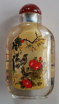 Vintage Chinese Crystal Inside Hand Painted Snuff Bottle With Lid