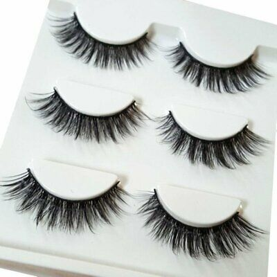 1 Pairs Black Soft Long 3D Mink False Eyelashes Cross Messy Eye Lashes New