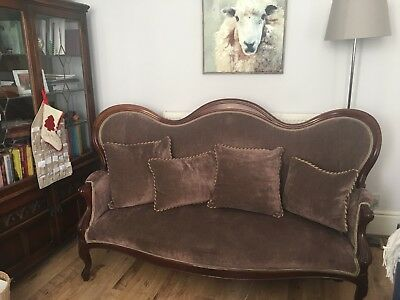 Beautiful Italian antique mahogany fawn sofa with matching Victorian Footstool