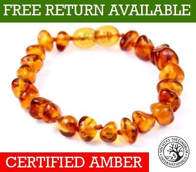 CERTIFIED Baltic Baby to Adult size Amber Anklet/Bracelet Knotted 10-27CM