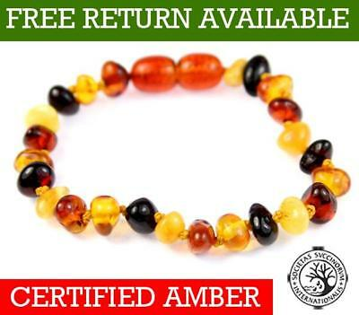 100% Baltic Genuine Amber Child MIX Anklet/Bracelet Knotted 12-23 CM from UK