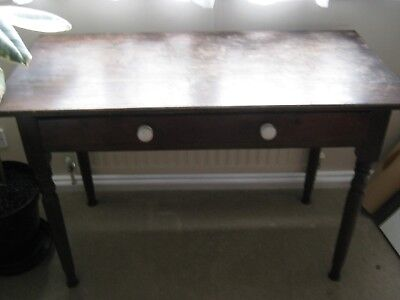 Antique Vintage Victorian Pine Console Hall Side Table Desk with 1 Drawer