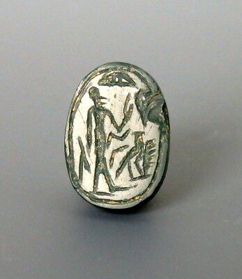 Phoenician Green Jasper Scarab With Figure & Falcon To Base (L489)
