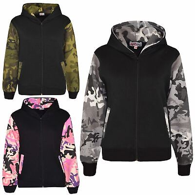 Boys Girls Jackets Kids Fleece Camouflage Hooded Hoodie Zipped Top Jacket 5-13 Y