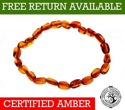 100% Baltic Genuine Amber BEAN Anklet/Bracelet ELASTICATED from UK Dristriibutor