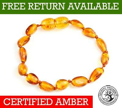CERTIFIED Amber BEANS Anklet/Bracelet Knotted 11-25 CM by UK Dristriibutor