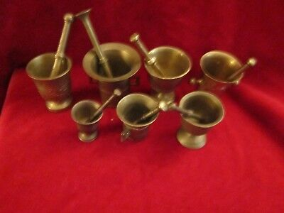 Brass Mortar And Pestle Apothecary Pharmaceutique Medicine LOT OF 7