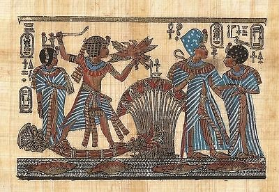 """Ancient Egyptian Hand Painted Drawing of the """"Pharaoh and Queen"""" Reproduction"""