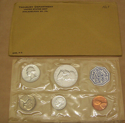 1963  US Mint 5 PC  Silver Coin Proof Set without COA