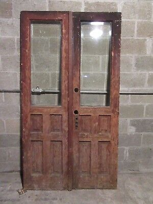 ~ ANTIQUE DOUBLE ENTRANCE FRENCH DOORS  ~ 46 x 83 ~  ARCHITECTURAL SALVAGE