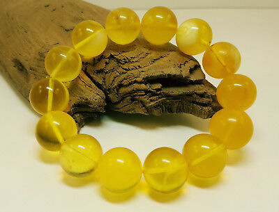 Bracelet Natural Baltic Amber Stone 27,6g Bead Egg Yolk Transparent White D-132