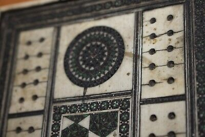 Antique 19th c  Anglo Indian inlaid  cribbage game board box with dice pegs