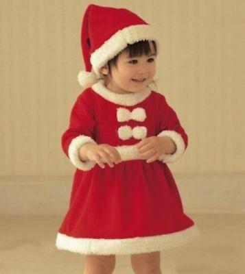Baby Girls Christmas Xmas Mrs Santa Costume First Dress Outfit Hat 6 12 18 24 m