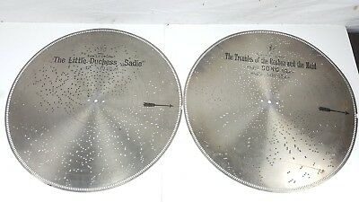 """Lot Of 2 Antique Stella 17-1/4"""" 7.25"""" Metal Tin Music Box Disc # 849 And 860"""