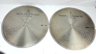 "Lot Of 2 Antique Stella 17-1/4"" 7.25"" Metal Tin Music Box Disc # 879 And 883"