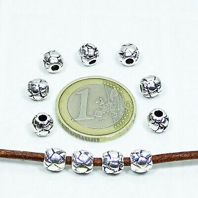 60 Tubos Decorados 6mm  T516C Plata Tibetano Spacer Beads Tubi Perline Pelle