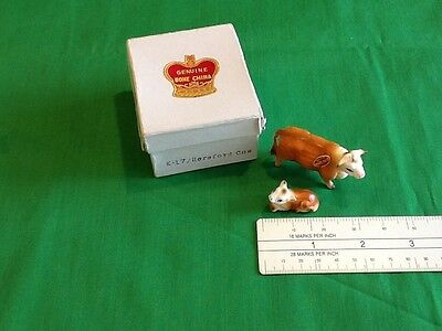 Vintage Bone China Miniature Cow and Calf Figurines Matte Finish Made In Japan