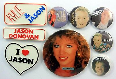 KYLIE MINOGUE AND JASON DONOVAN BADGES 9 x Vintage Pin Badges * Neighbours *