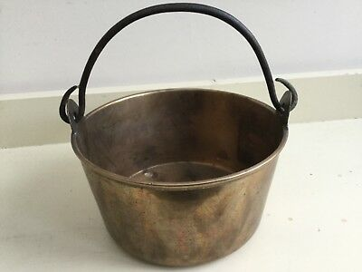 Vintage Small Heavy  Brass Jam Pan Planter Pot with  iron handle