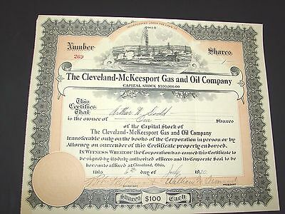 1920 The Cleveland Mckeesport Gas And Oil Company Cleveland Ohio Stock Cert