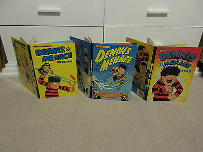 THE BEANO'S DENNIS THE MENACE BOOKS X 3, 1991/1992/1993-All unclipped, VGC