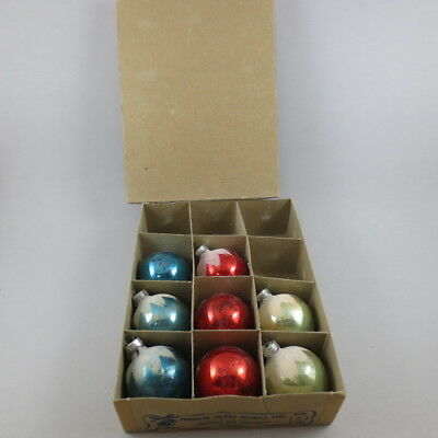 Vintage Glass Ornaments Premier Glass Works Set of 8 in Box Mica Round Red Blue