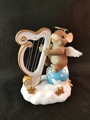 Charming Tales Harp The Herald Angels Sing  #87/131 Fitz & Floyd Christmas Mouse