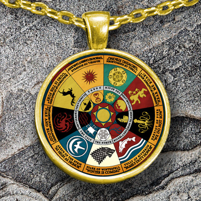 Game Of Thrones Necklace House Sigils Pendant Gold Plated GOT Pendant Xmas gift